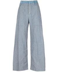 Chloé   Stripe Cotton Denim Wide Leg Jeans   Lyst