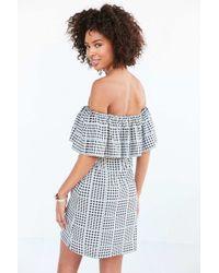 Cooperative - Gingham Ruffle Off-the-shoulder Mini Dress - Lyst