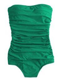 J.Crew Long Torso Ruched Bandeau One-Piece Swimsuit - Lyst