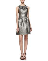 Shoshanna Priya Metallic Jacquard Dress - Lyst