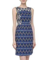 Donna Morgan Sleeveless Baroque-print Textured-jacquard Dress - Lyst