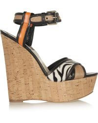 Brian Atwood Isotta Leather, Raffia And Calf Hair Wedge Sandals - Lyst