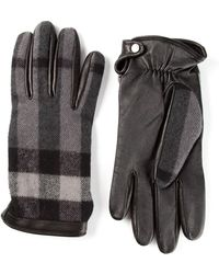 Burberry - Panelled Charcoal Check Gloves - Lyst