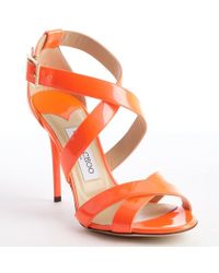 Jimmy Choo Neon Flame Orange Strappy Patent Leather 'Lottie' Sandals - Lyst