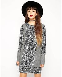 Asos Reclaimed Vintage Shift Dress in Mix and Match Print - Lyst