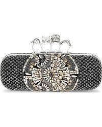 Alexander McQueen Beaded Knuckle Box Clutch Bag - For Women silver - Lyst