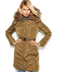 Michael Kors Michael Hooded Faux-fur-trim Belted Down Puffer Coat - Lyst