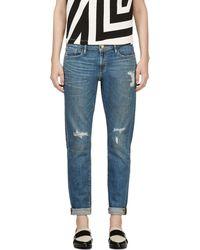 Frame Denim Blue Distressed Le Garcon Jeans - Lyst