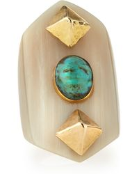 Ashley Pittman - Mwamba Horn Ring With Turquoise - Lyst