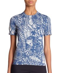 Tory Burch Exotic Floral Sweater blue - Lyst