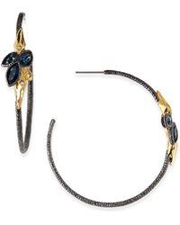 Alexis Bittar Rocky Hoop Earrings with Crystal Cluster - Lyst