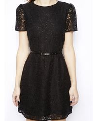 Oasis Lace Skater Dress - Lyst