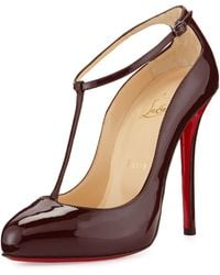 Christian Louboutin Ditassima Patent T-Strap Red Sole Pump - Lyst