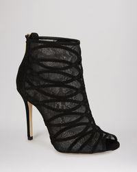 Karen Millen Open Toe Booties - Lace and Suede High Heel - Lyst