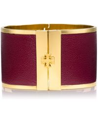 Tory Burch Wide Leather Inlay Cuff - Lyst