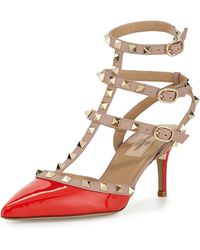 Valentino Rockstud Leather Mid-Heel Pump - Lyst