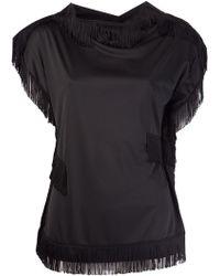 Comme Des Garçons Black Fringed Tshirt - Lyst