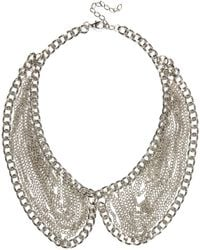 River Island Silver Tone Draped Chain Collar Necklace - Lyst