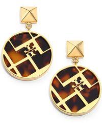 Tory Burch Aislin Tortoise-Print Chevron Fret Drop Earrings - Lyst