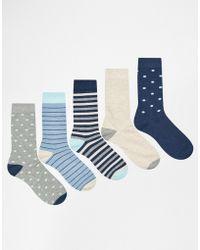 Urban Eccentric - Socks In 5 Pack Stripes - Lyst