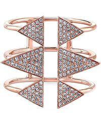 Anne Sisteron - 14kt Rose Gold Diamond Triple Spike Ring - Lyst