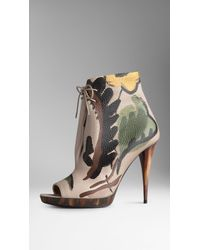 Burberry Handpainted Leather Ankle Boots - Lyst