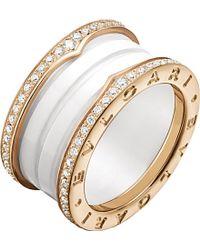 bvlgari bzero1 fourband 18ct pinkgold white ceramic and diamond