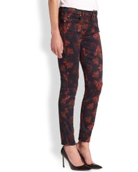 7 For All Mankind Floral-print Sateen Skinny Jeans - Lyst