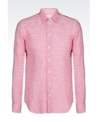 Armani Shirt In Striped Linen Blend - Lyst