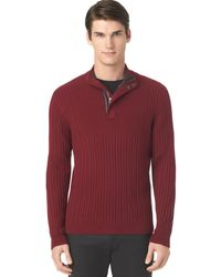 Calvin Klein Ribbed Button Mock-neck Sweater - Lyst