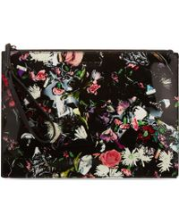 McQ by Alexander McQueen Floral Printed Leather Clutch - Lyst