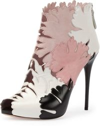 Alexander McQueen Leaf Cutout Open-Toe Ankle Boot - Lyst