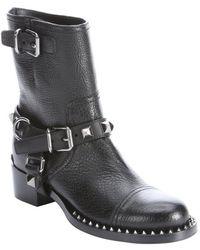 Miu Miu Black Leather Studded Mid-Calf Boots - Lyst