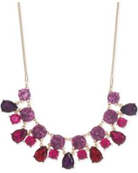 Nine West Gold-tone Multicolor Crystal Frontal Necklace - Lyst