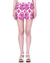 Diane Von Furstenberg Foliage Gathered Waist Shorts Brocadepurple - Lyst