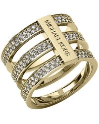 Michael Kors Goldtone And Crystal Tiered Ring - Lyst