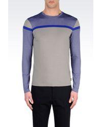 Armani Striped Jersey Crewneck Tshirt - Lyst