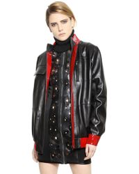 Anthony Vaccarello Patent & Nappa Leather Jacket - Lyst