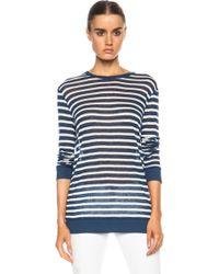 T By Alexander Wang Stripe Linen Long Sleeve Tee - Lyst