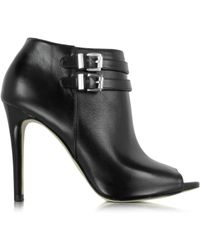 Michael Kors | Saylor Black Leather Open Toe Bootie | Lyst