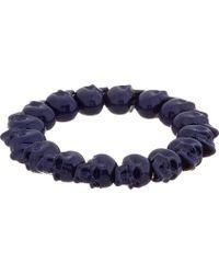Alexander McQueen Blue Skull Bead Bracelet - Lyst