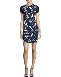 Shoshanna Cap-Sleeve Abstract-Print Sheath Dress - Lyst