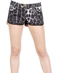 Roberto Cavalli Jaguar Printed Cotton Drill Shorts - Lyst