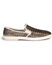 Rivieras 'Lord Oros' Woven Metallic Leather Skate Slip-Ons - Lyst