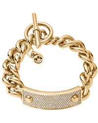 Michael Kors Pavéembellished Studded Goldtone Toggle Bracelet - Lyst