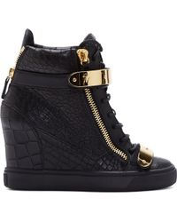 Giuseppe Zanotti Black Leather Croc_embossed Lorenz Wedge Sneakers - Lyst