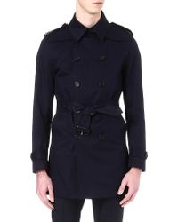 Sandro Cotton Trench Coat Navy - Lyst