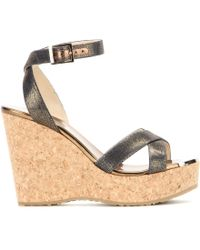 Jimmy Choo Papyrus Metallic Wedge Sandals - Lyst