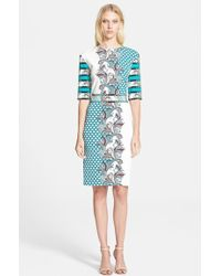 Etro Mixed Print Jersey Sheath Dress - Lyst