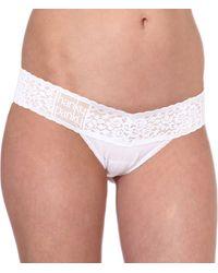 Hanky Panky Logo Detail Low Rise Thong White - Lyst